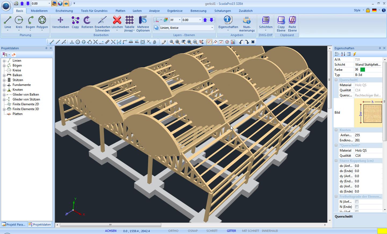 Scada pro timber kurze beschreibung for Finite elemente tragwerk
